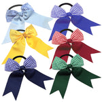 "1 x 4"" Gingham Bow Cheerleader Hair Bobble - The Hair Bowtique"
