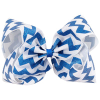 "1 x 8"" Luxury Zig Zag Ribbon Bow Hair Clip - The Hair Bowtique"