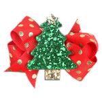 Girls Christmas 7cm Hair Clips Slides | Red Gold Glitter | Christmas Tree - The Hair Bowtique