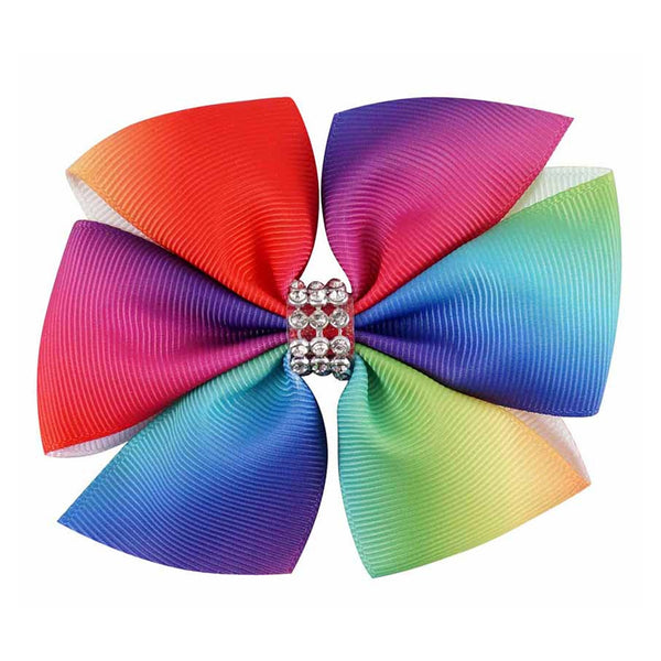 "1 x 3.5"" Rainbow Pinwheel Bow Jewelled Hair Clip - The Hair Bowtique"
