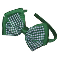 1 x Luxury Gingham Layered Bow Hair Band - The Hair Bowtique