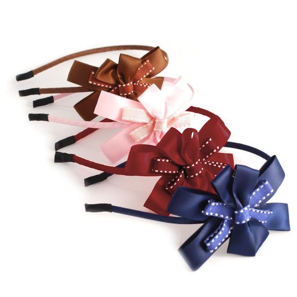 1 x Luxurious Metallic Hair Band with Ribbon Bow - The Hair Bowtique