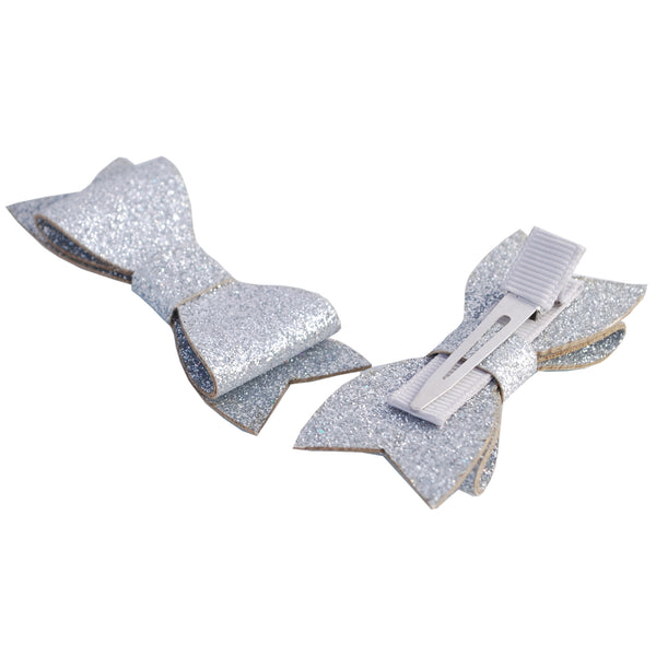 2 x Glitter Faux Leather Hair Clips - The Hair Bowtique