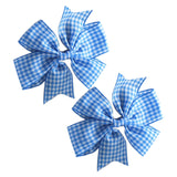 2 x 'Pin Wheel' Ribbon Bow Clips | Gingham Check - The Hair Bowtique