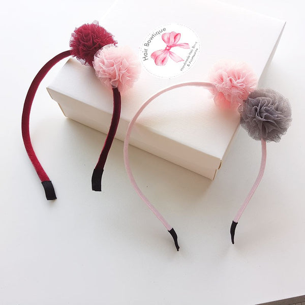 1 x Luxury Metal Hair Band with 2 Lace Pom Poms - The Hair Bowtique
