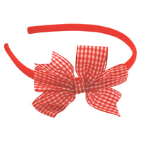 1 x Gingham 'Pin Wheel' Bow Hair Band - The Hair Bowtique