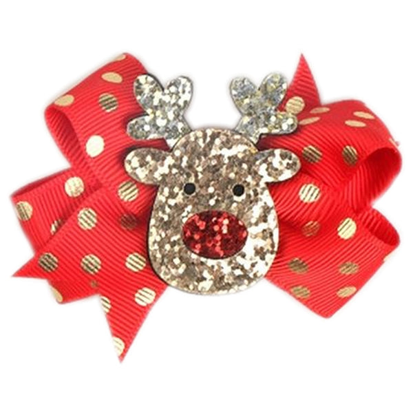 Girls Christmas 7cm Hair Clips Slides | Red Gold Glitter | Rudolph - The Hair Bowtique
