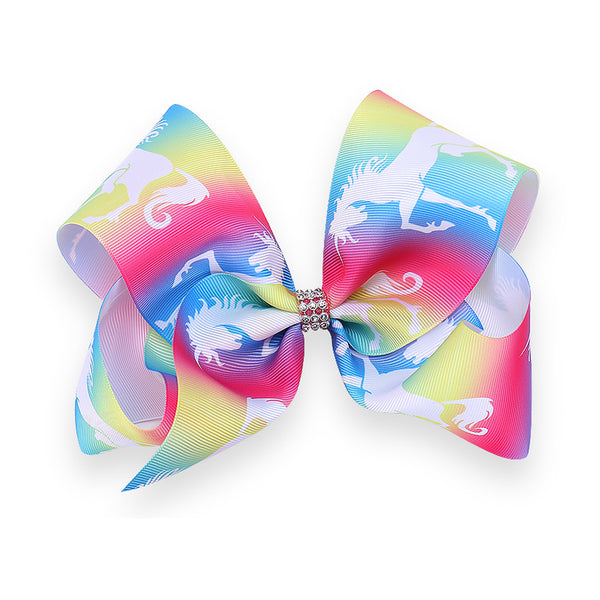 "1 x 5"" Unicorn Ribbon Bow Hair Clip with Diamante Centre - The Hair Bowtique"