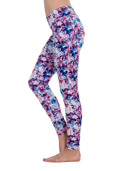 Purple Floral Printed Pocket Leggings