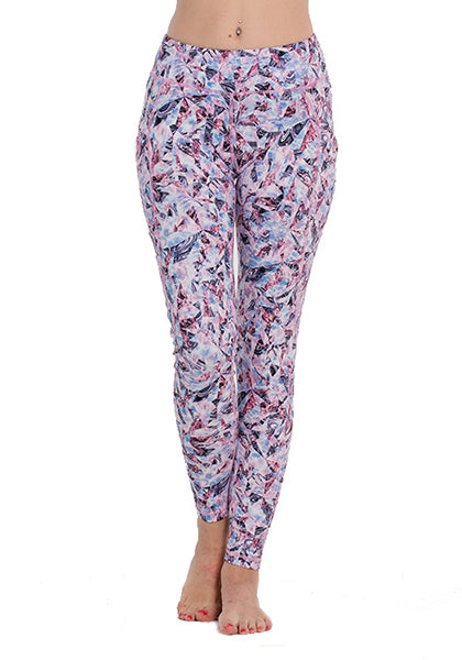 Purple Diamond Printed Pocket Leggings