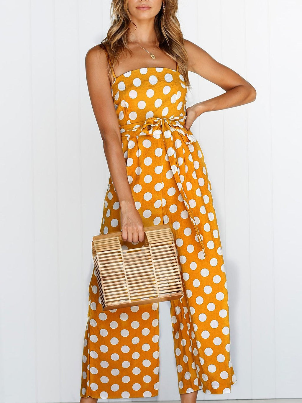 Polka Dot Print Jumpsuits With Belt