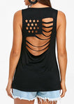 Solid Color Cutout American Flag Sleeveless Tank