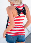 Star and Stripe Printed Knotbow O-neck Tank Tops