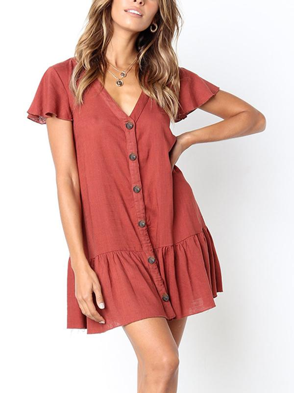 V-Neck Button Solid Color Mini Dress-Yolemy.com