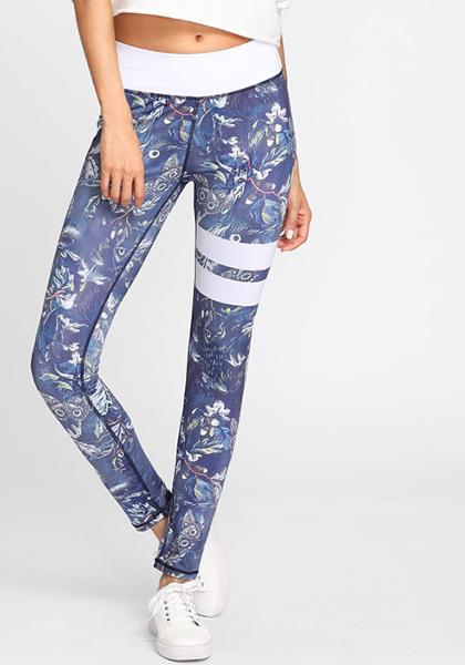 Leaf Printed White Side Stripe High Waist Leggings