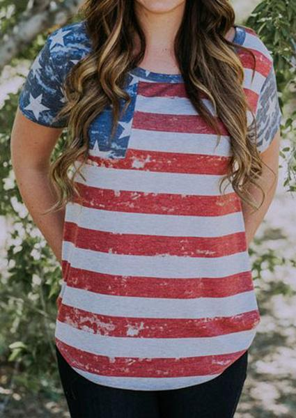 Striped American Flag O-neck T-Shirt