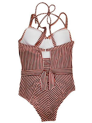 Striped Double Strap Swimsuit