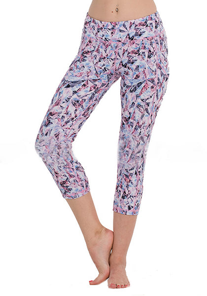Purple Diamond Printed Pocket Capris