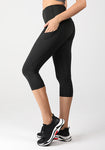 Side Pockets High Waist Capri Legging