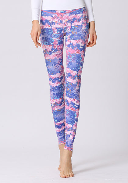 Purple Floral Printed Leggings