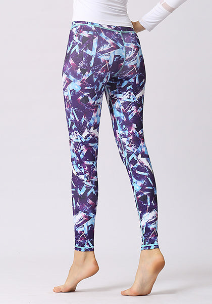 Purple Printed High Waist Leggings