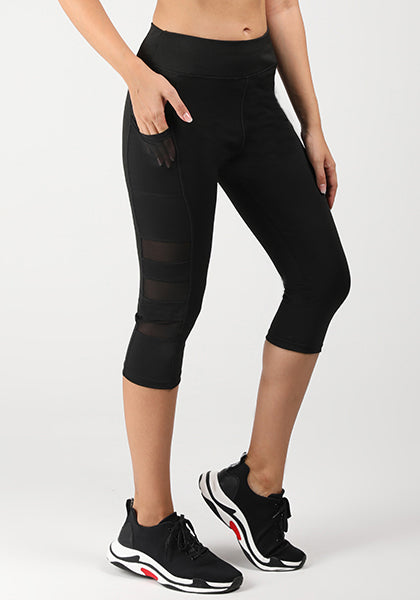 Pocket Mesh High Waist Capri