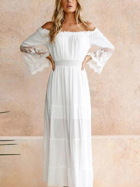 White Lace Off Shoulder Dress-jojomiss.com