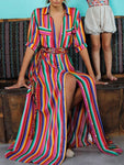 Rainbow Stripe Front Button Pockets Dress-jojomiss.com