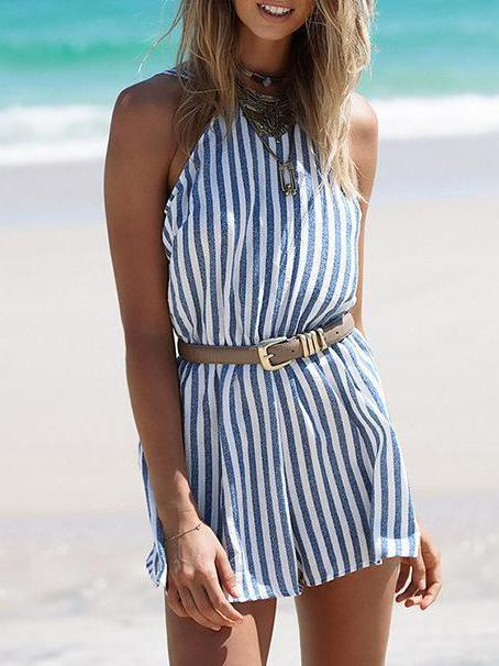 Striped Backless Sexy Halter Jumpsuit