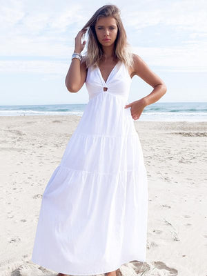 V-Neck Halter Backless Sexy White Dress-Yolemy.com