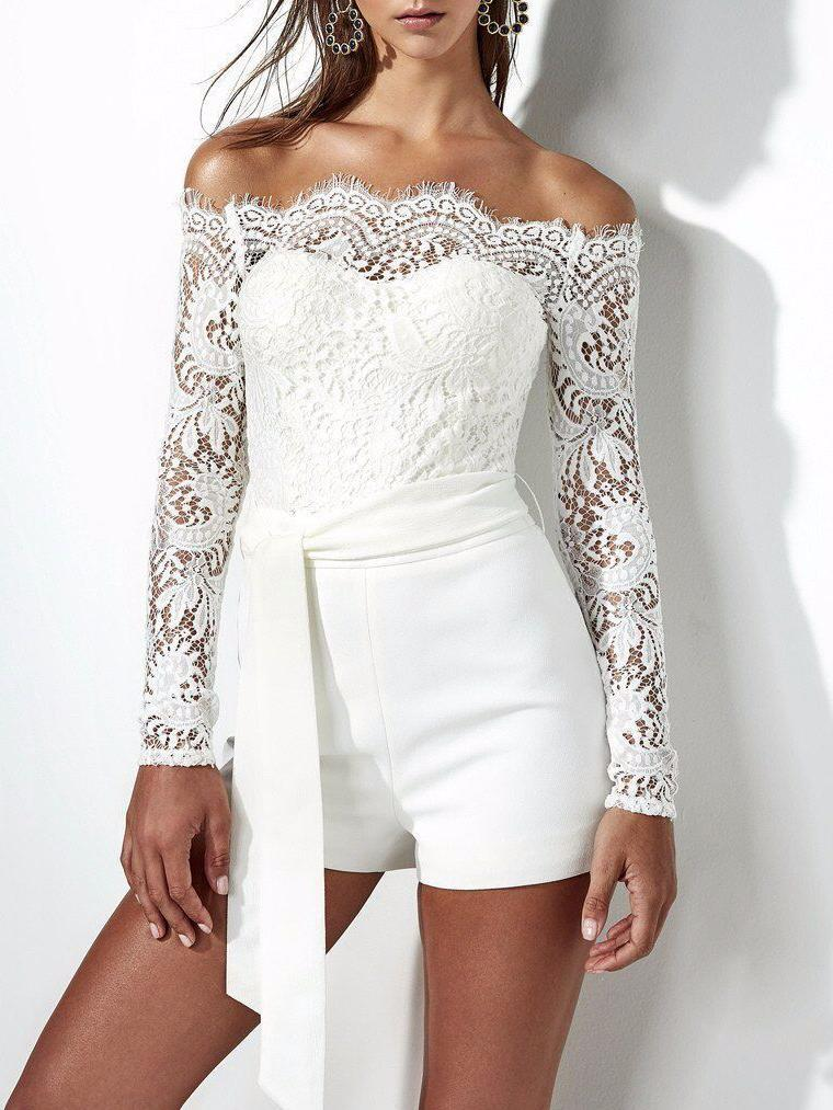White Lace Off Shoulder Jumpsuits