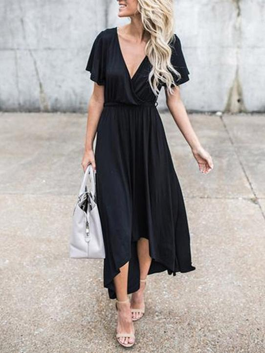 V-Neck Elegant Black Dress-jojomiss.com
