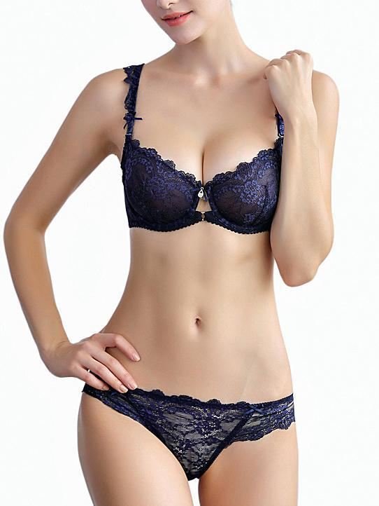 See Through Bow Sexy Lace Bra Set-Bras and pamties-Yolamo.com