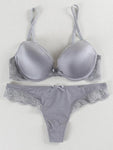 Smooth Lace Push Up Solid Sexy Bra Set-T-shirt Bras-Grey-US 34-B-Yolamo.com