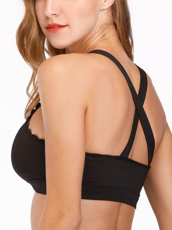 Solid Color High Neck Sport Bra-Sports bras-Yolamo.com