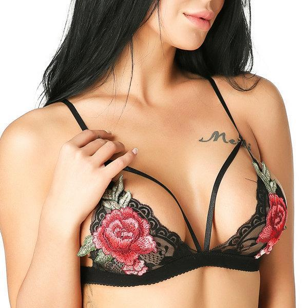 Triangle Cup Unlined Hollow Bras-Sexy Lace-101GOGO.com