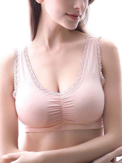 Wireless Comfortable Lace Border Bra-Wireless bras-Flesh-M-Yolamo.com