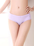 Woman Comfortable Breathable Cotton Solid Color Underwear Low Waist Briefs-Underwear-Yolamo.com