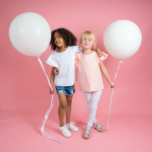 Girls pink and white tops with denim shorts and white jeans kids clothes