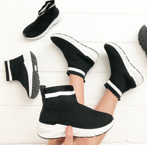 Designer inspired black sock trainers for boys and girls unisex pumps