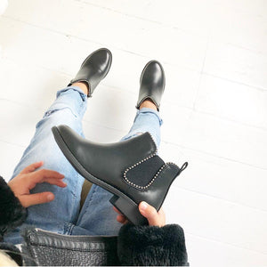 Girls black studded winter chelsea boots