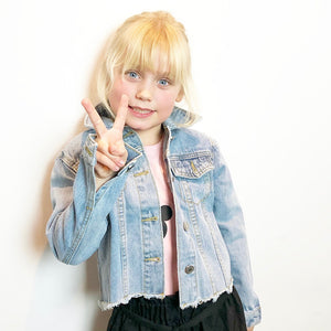 Girls light summer denim jacket with pink short sleeve t-shirt