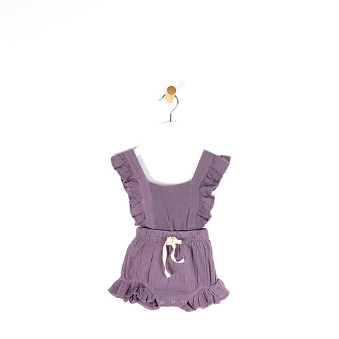 Baby Girls summer romper onesie in heather purple frill sleeves and legs perfect for holiday