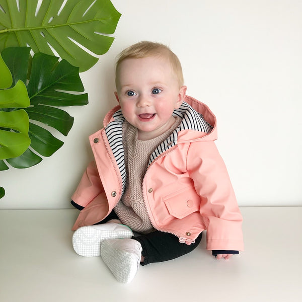 Baby toddler raincoat mac in dusty pink for kids
