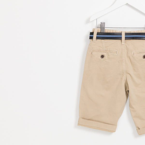 Boys beige summer shorts holiday leather belt