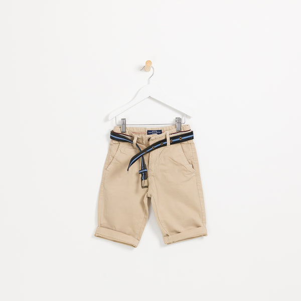 Children's Boys beige summer shorts holiday wedding leather belt