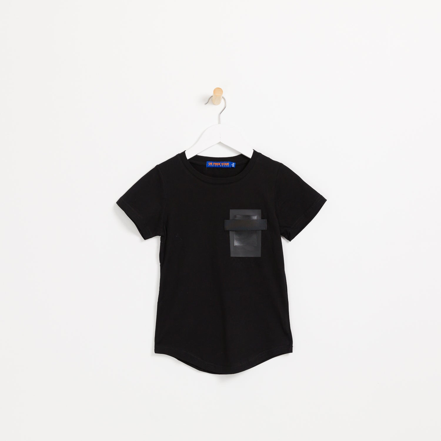 Boys black short sleeve cotton square pocket t-shirt