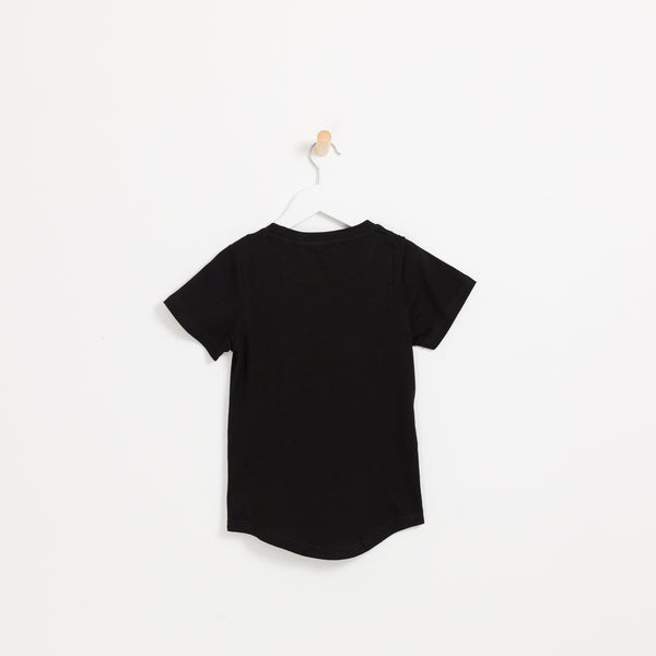 Kids boys black cotton square pocket t-shirt
