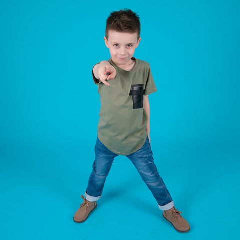 Boys children's khaki cotton square t-shirt