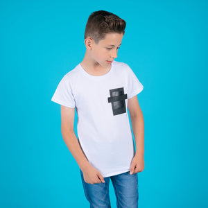 Boys white black square pocket cotton t-shirt for kids